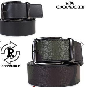 Coach Men's belt camo leather NWTS